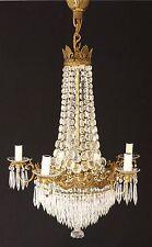 Grand Lustre Montgolfière Louis XVI Cristal Et Bronze, Début XX ème
