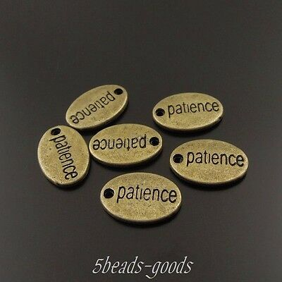 69pcs Vintage Bronze Alloy Patience Word Oval Pendant Charms Jewelry 38029