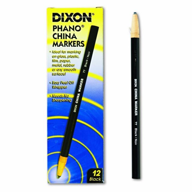 dixon china marker phano black noir 77 peel off pencil 12 count 00077