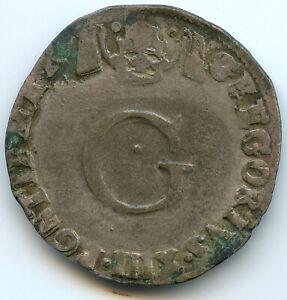Comtat Vénaissin Gregoire XIII (1572-1585) Double Sol Parisis Or Six White