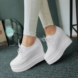 8d4aa899eff4 Womens Hidden Wedge Lace Up White Sneakers Black Platform Creeper ...