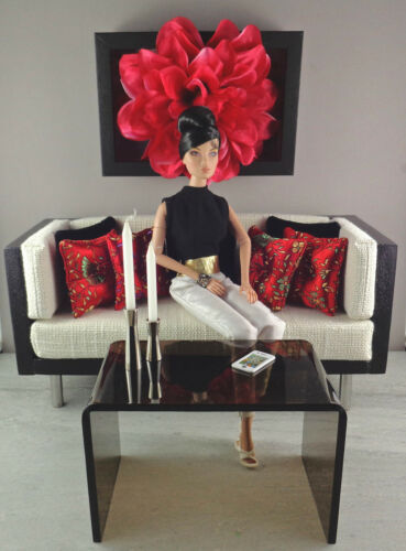 for Barbie//Fashion Royalty Doll Displays 1:6 Scale Handmade Pillow Set RED