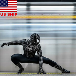 US-Adults-Black-Venom-Spider-Man-Muscle-Zentai-Halloween-Cosplay-Costume-Lycra