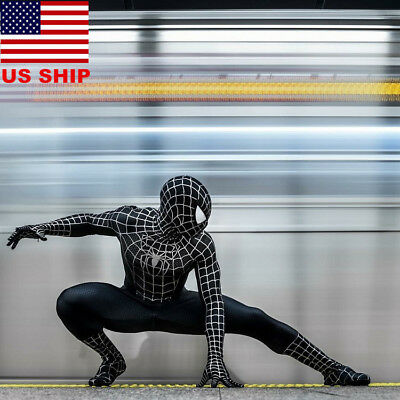 US!Adults Black Venom Spider-Man Muscle Zentai Halloween Cosplay Costume Lycra
