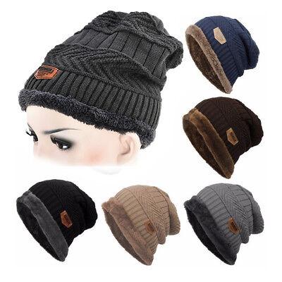 Men Women Winter Camping HatBeanie Baggy Warm Wool Ski Cap Fleece Line Unisex