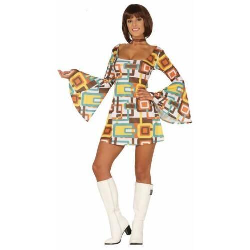 Yellow Squares 70/'s Retro Bell Sleeve Dress Disco Groovy Ladies Fancy Dress