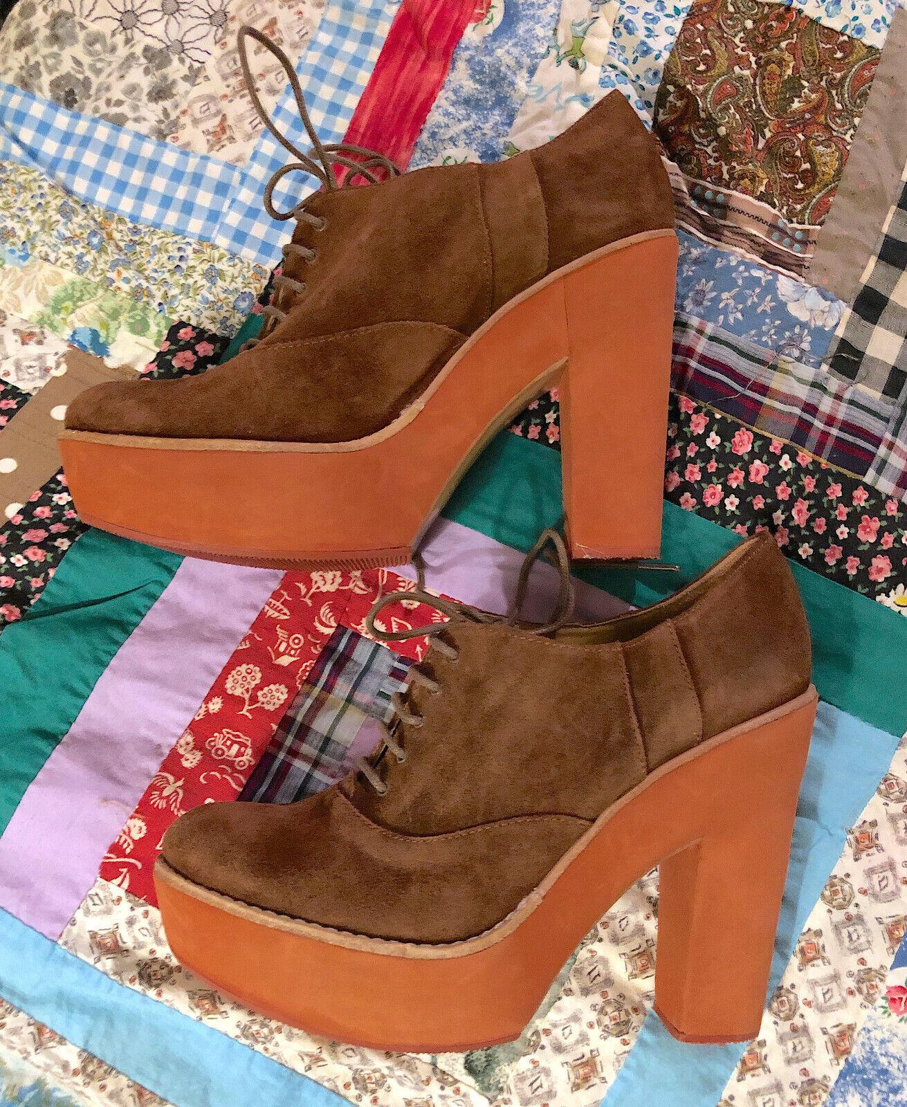 RALPH LAUREN polo femme Dessa Chaussure Mi-mollet en daim compensées à lacets taille 39B (8)