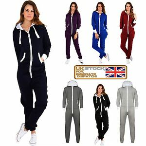de74e8aade6 New Ladies Womens All In ONE Hooded ZIP UP Jumpsuit Playsuit UK ...