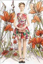 New VALENTINO Red Floral Roses Cotton Poplin Full SKirt Dress 40