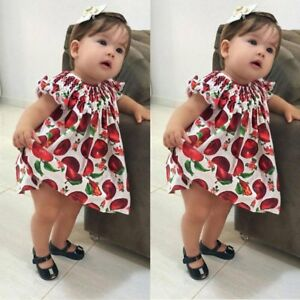 4f2b90a83f42 Summer Apple Printed Toddler Baby Girl s Floral Lace Princess Dress ...