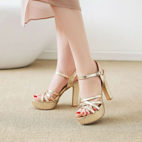 Womens Open Toe Platform Slingback Ankle Strap Shoes Casual High Heels Sandals