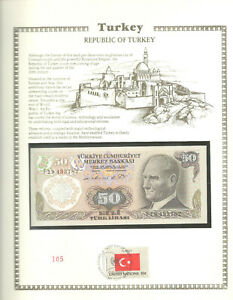 Turkey Banknote 50 Lirasi 1970 UNC P 188 UN FDI FLAG STAMP Birthday F19433782