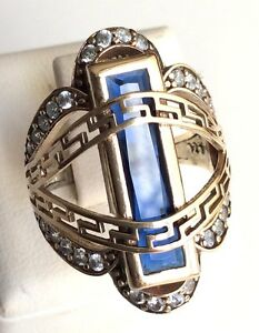 925-Sterling-Silver-Handmade-Antique-Turkish-Sapphire-Ladies-Ring-Size-6-10