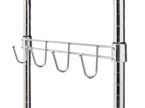 Wire Shelf Side Bar w/4 Hooks, 16 Wide, Fits 1 Pole Diameter, Chrome, 2-PACK