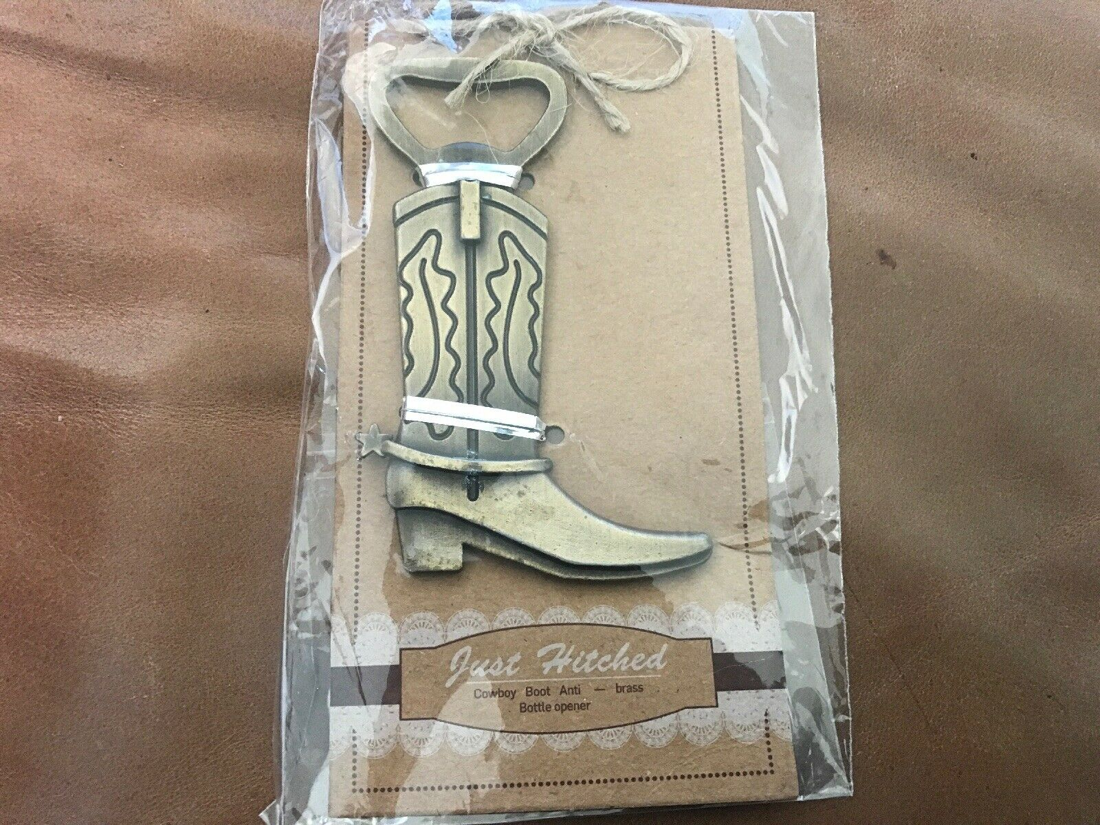"""""""Just Hitched"""" Brass Cowboy Stiefel Bottle Opener - Brand New - Set Of 52"""