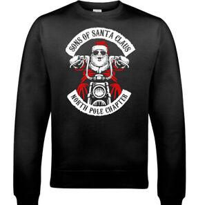 Christmas-Biker-Jumper-Sons-Of-Santa-Claus-Anarchy-Mens-Motorcycle-Sweatshirt