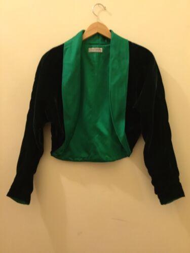 Guy Larouche Vintage Green Velvet Satin Blazer/Jac