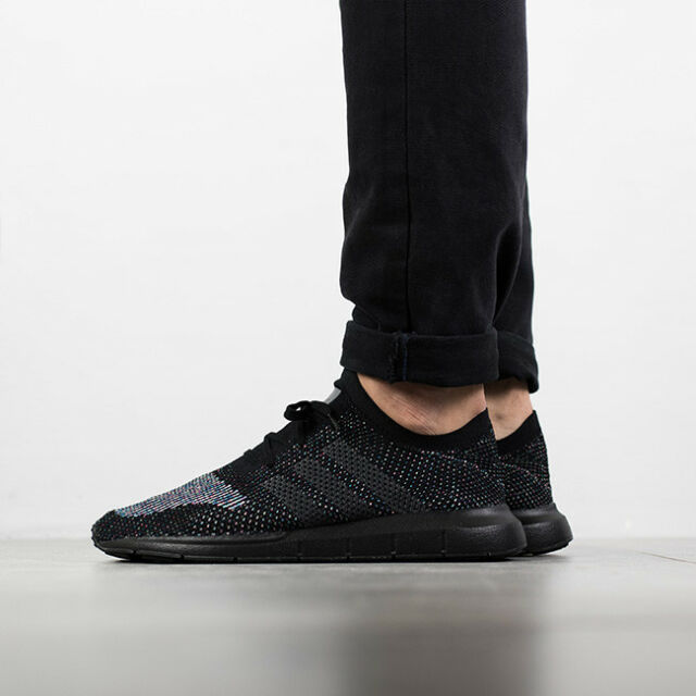 adidas Originals Swift Run PK Primeknit Black Men Running Shoes ... 9e74eaf8277bb