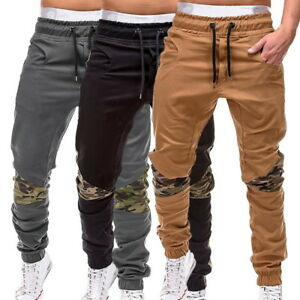 Sports-Mens-Casual-Pants-Camo-Stitching-Pants-Sweatpants-Trousers