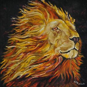 african lion unique impressionistic original oil painting 30 x 30