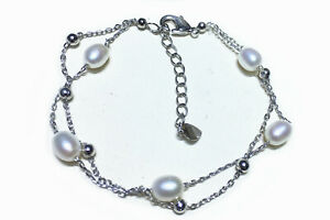 Sterling Silver Drop Real Cultured White Cream Freshwater Pearl Bracelets gift