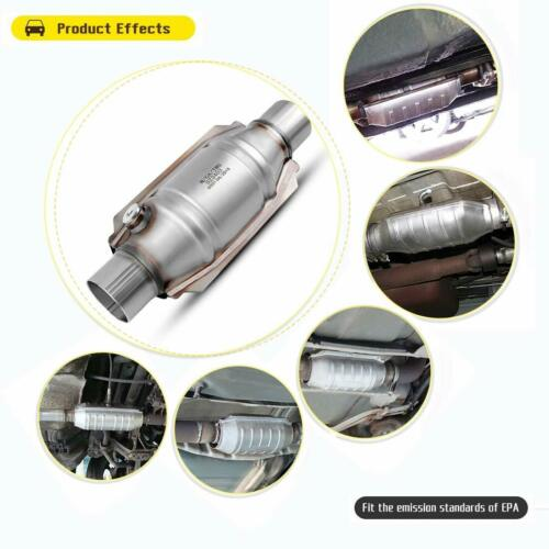 """Universal 2.25/"""" Inlet//Outlet Catalytic Converter with O2 Nut Stainless Steel"""