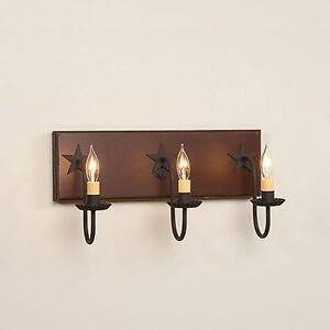 Vanity Light Bar Wood : 3-arm Wooden Vanity Wall Bar Light w/ Stars in Sturbridge Red