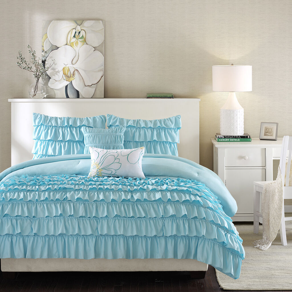 BEAUTIFUL Blau LIGHT BABY TEAL SOFT MODERN TEEN GIRL RUFFLED COMFORTER SET SHAMS