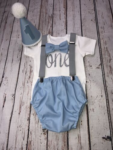 Baby Boy 1st Birthday Cake Smash Prop Outfit Blue Color Handmade