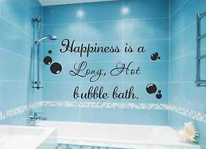 Happiness is a Hot Bubble Bath Wall Decal Bathroom Sticker Quote Vinyl Art B82