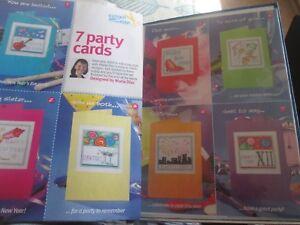 """"""" 7 Partie Cartes Du Nouvel An Cartes Cross Stitch Chart (uniquement)-afficher Le Titre D'origine"""