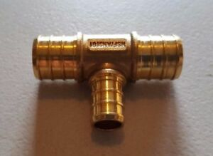 25-PIECES-3-4-034-X-3-4-034-X-1-2-034-PEX-TEE-BRASS-CRIMP-FITTINGS-LEAD-FREE