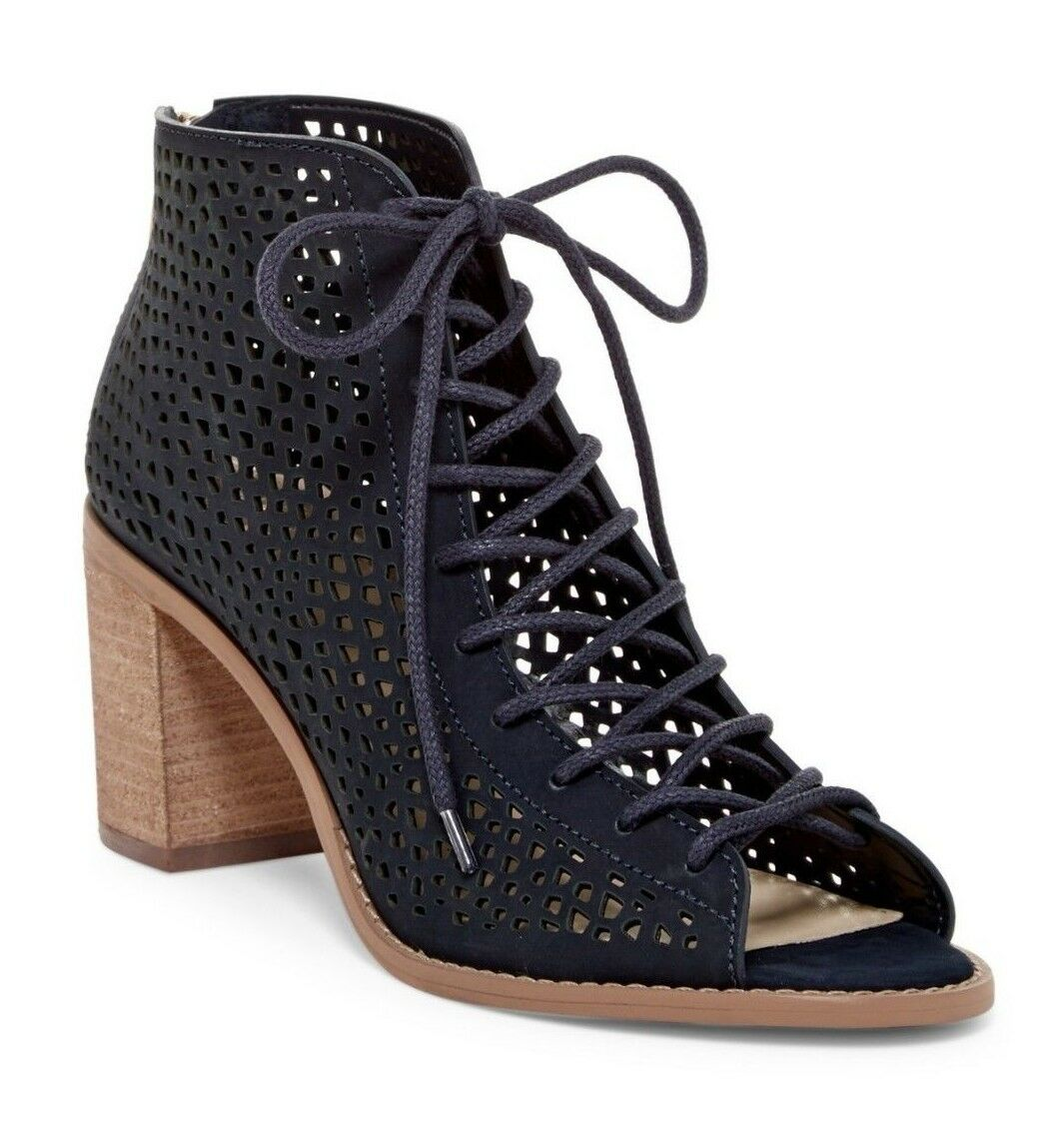 VINCE CAMUTO schuhe TULINA PERFORATED LEATHER LACE UP StiefelIES DARK NAVY 8