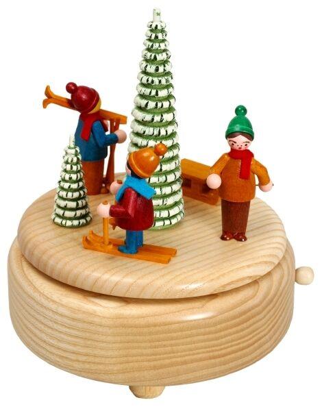 Musikdose natur Schlittenkinder 15,5 cm Spieluhr NEU Seiffen Weihnachten