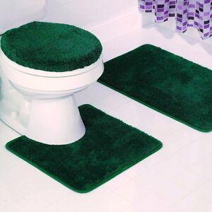 3pc Solid Plain Hunter Green Banded Bathroom Set Bath Mat
