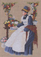 Cross Stitch Chart / Pattern Lavender & Lace Vintage Woman At County Fair Ll8