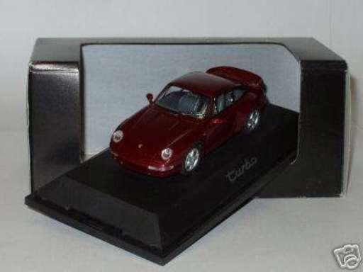 RARE SCHUCO PORSCHE 911 993 TURBO ARENA RED METALLIC DEALER PROMO 1 43 MINT