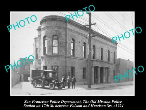 OLD LARGE HISTORIC PHOTO OF SAN FRANCISCO POLICE, OLD MISSON POLICE STATION 1924