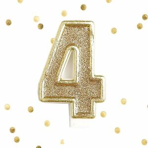 Number Four Large 3 14 Inch Tall Glistening Gold Birthday Cake Candle Numeral 4