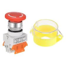 22mm Latching Emergency Stop Push Button Switch With Yellow Protective Cover 2nc