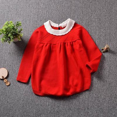 Toddler Baby Kids Girls Winter Fall Long Sleeve Knitting Romper Jumpsuit Sweater