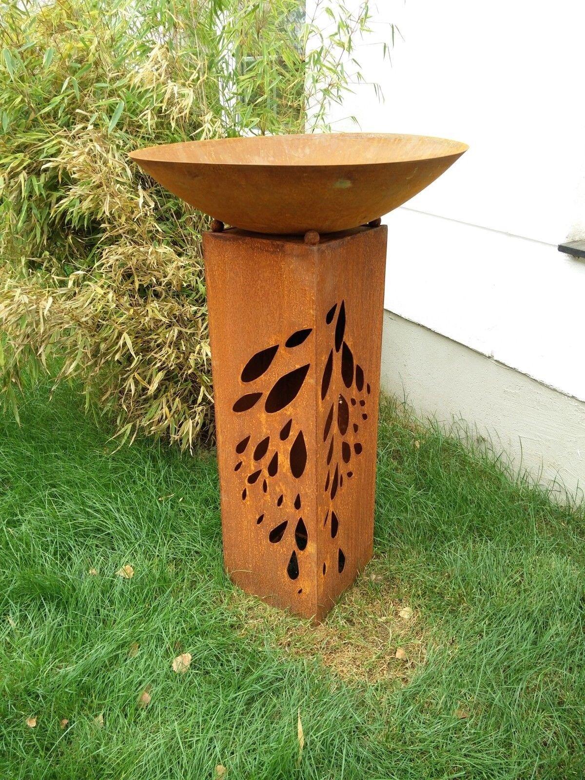 Edelrost Gartensäule H82cm mit Feuerschale 60cm,Garten Säule Rost Metall