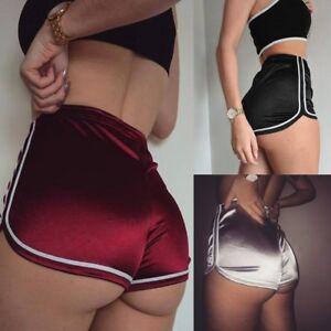 Sexy-Women-Shorts-Summer-Silk-Slim-Beach-Casual-Running-Gym-White-Egde-Shorts