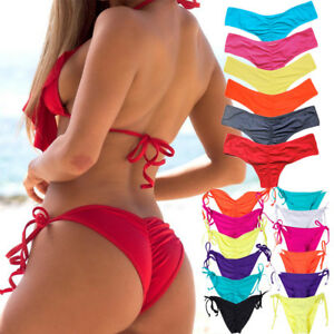 Women-Bikini-Thong-Bottoms-Beach-Swimwear-Brazilian-G-String-Cheeky-Swimsuit-O84