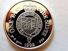 1992 Taiwan One (1) Tael Pure Silver 1.2 Ounce Gem BU Dragon Horse Coin