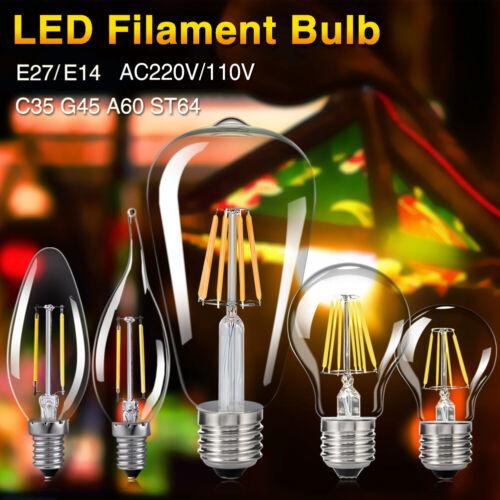 E27 E14 4-16W LED Vintage Edison Bombilla Filamento Lámpara Frío//Cálido Blanco