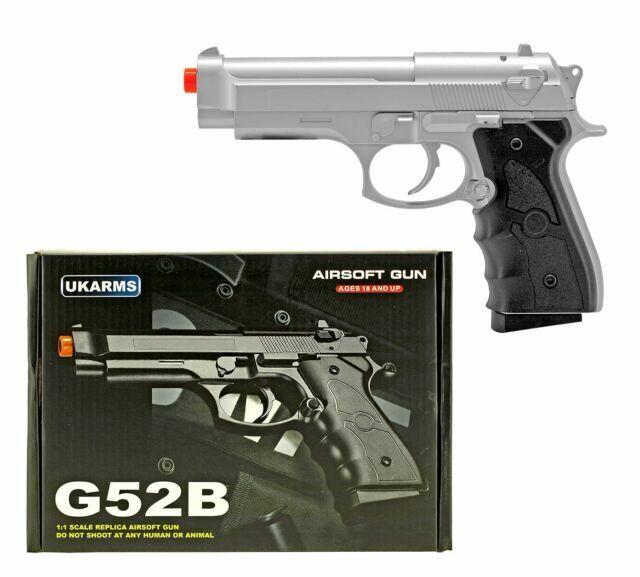 Uk Arms 8 5 Silver Black Spring Airsoft Pistol Hand Gun 175 Fps G52s 1000 Bbs For Sale Online Ebay