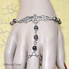 Gothic Bat Bracelet Ring with Larvikite and Amethyst - Handmade Goth Jewellery