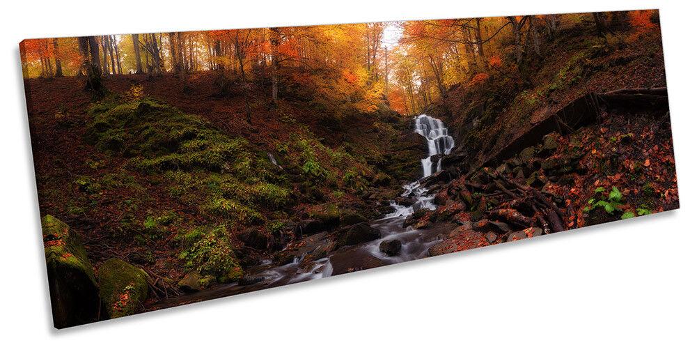 Des affiches pour des cadeaux, Forêt des coins coupés à envoyer! Joyeux Noël! Forêt cadeaux, Automne River saison photo Panorama Toile Wall Art Print cdc986