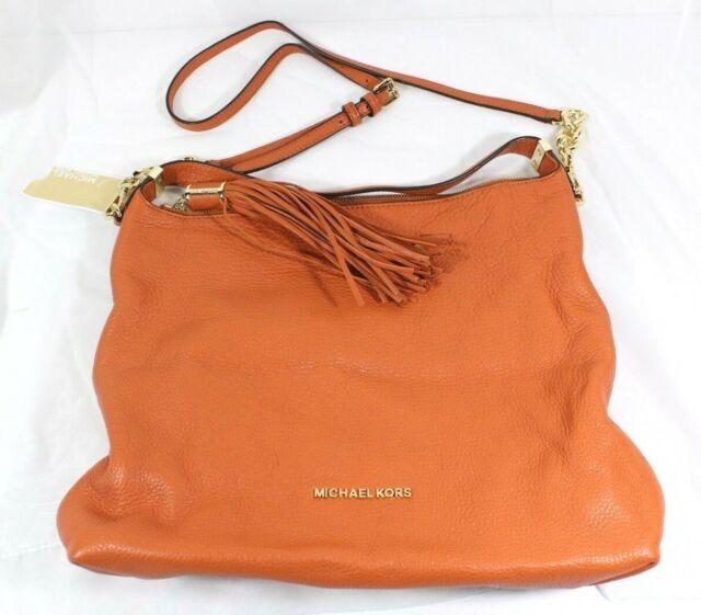 michael kors weston large 100 leather shoulder bag in burnt orange rh ebay com